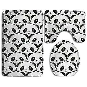 Soft Toilet Rug 3 Piece Bath Rug Set Panda Faces Pattern Non Slip Bathroom Rugs,U-Shaped Toilet Mat,Toilet Lid Cover