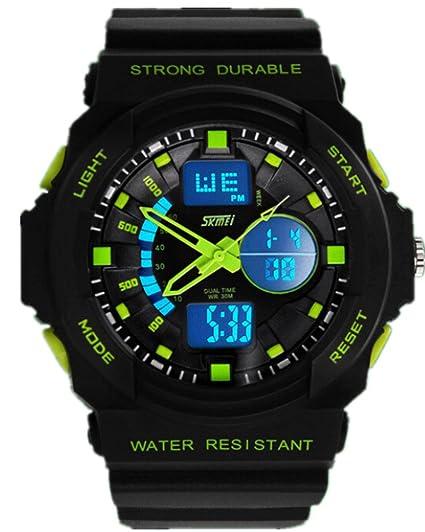 SKMEI GD12 - Reloj de pulsera hombre, resina, color verde: Amazon.es: Relojes