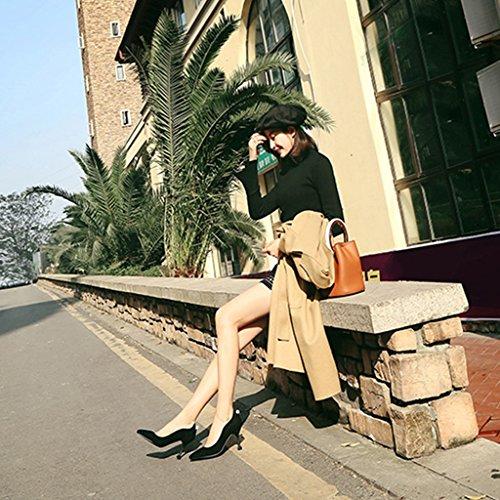 demoiselles femmes pointues taille Couleur fines simples 36 ALUK chaussures à Rouge Chaussures hauts Shoes d'honneur talons avec Noir pour long230mm ZqOtPwE