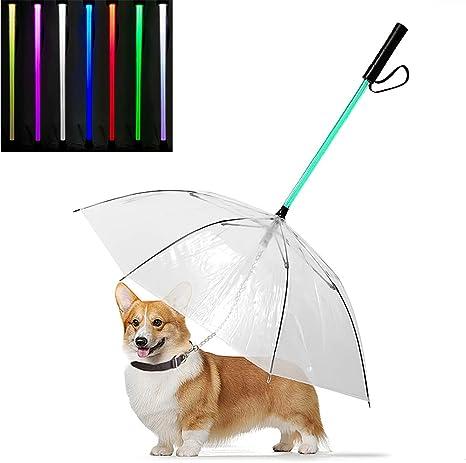 Yhjmdp Pet Dog Umbrella Guinzaglio LED Impermeabile Trasparente Raggiante Pet Ombrello Torcia Maniglia per Camminare Animali Domestici del Cane in Giorno di Pioggia