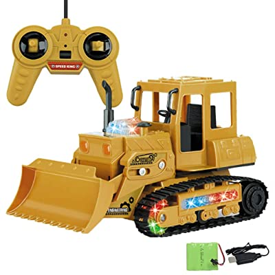 Fabal Excavator 1:24 RC 4-Channel Tractor Truck Digger Car 2.4G Remote Control Enginee Wireless Remote Light Electric Bulldozer (B): Toys & Games