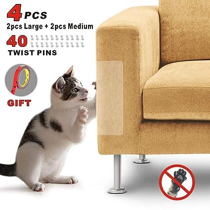 Idepet 4PIEZAS Gato Protector de arañazos para muebles con 40 tornillos,Protector de sofá para mascotas Evitar que los gatos rasguñen los muebles ...