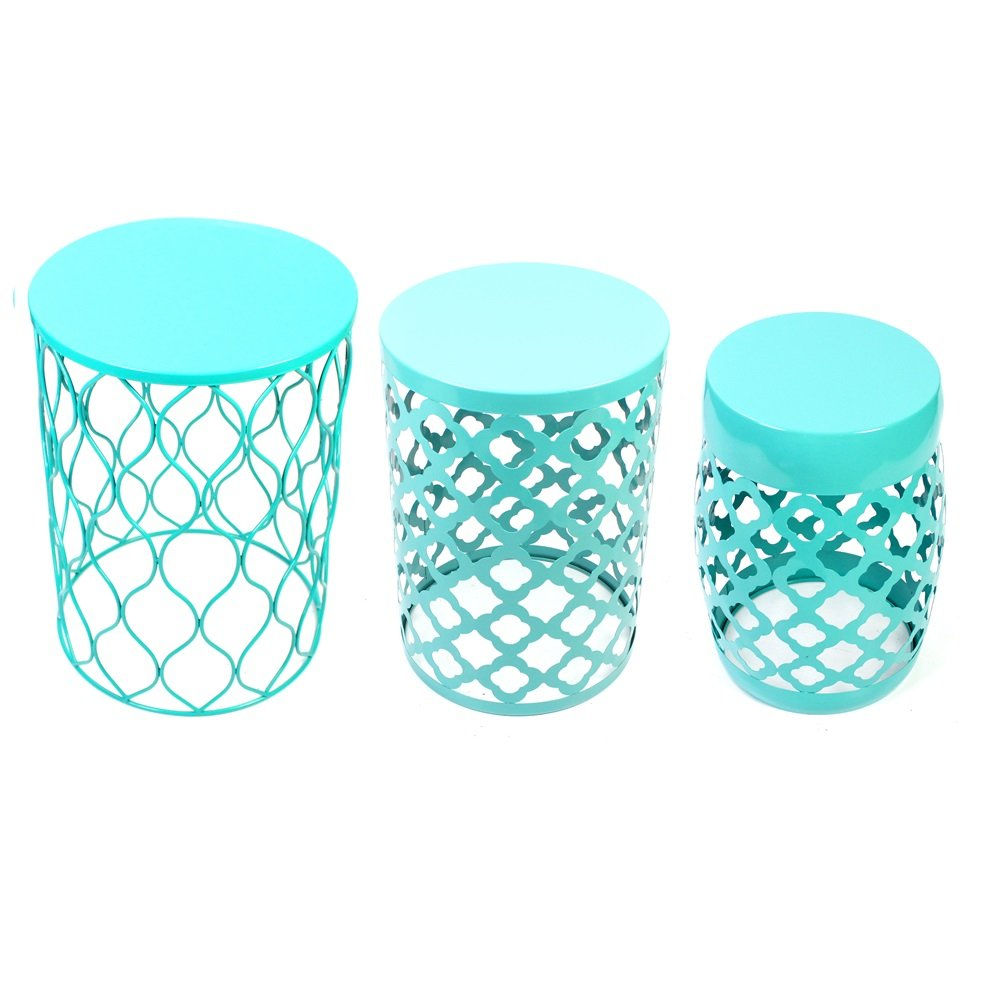 Home Garden Accents Wire Round Iron Metal Stool Side End Table Plant Stand,Set of Three (Light Green)