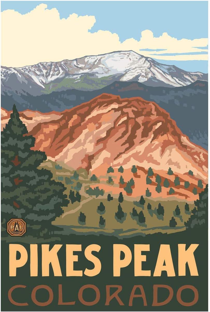 "Pikes Peak Colorado Giclee Art Print Poster from Original Travel Artwork by Artist Paul A. Lanquist 12"" x 18"""