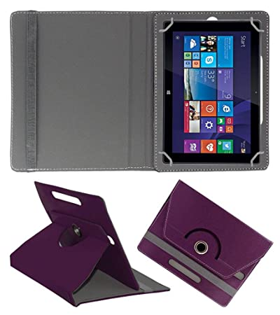 Acm Rotating Leather Flip Case Compatible with Iball Slide Wq149r Cover Stand Purple Tablet Bags, Cases   Sleeves