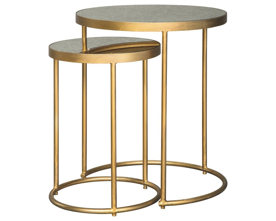 Amazon com ashley furniture signature design majaci set of 2 nesting tables contemporary antique gold metal mirrored glasstop kitchen dining