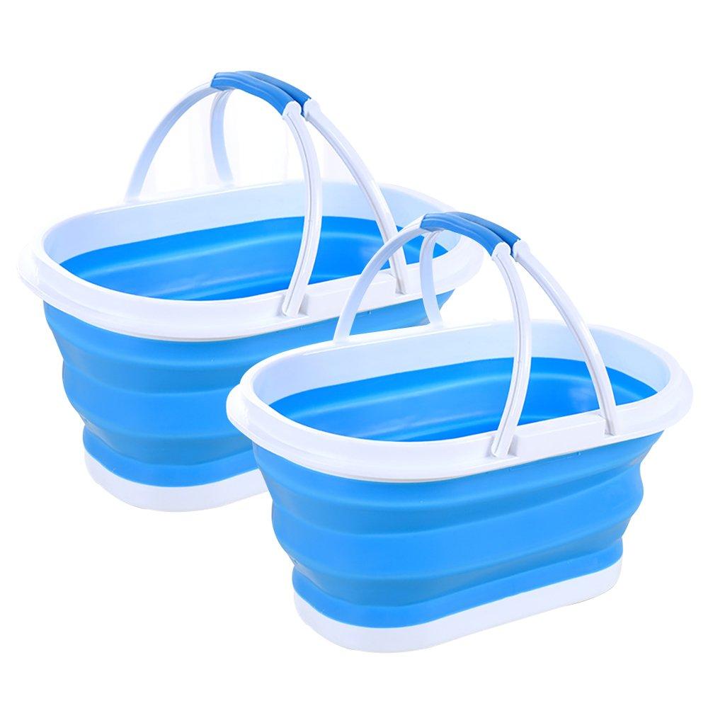 Seau Pliable en Silicone Seaux Pliables Seau /À Vaisselle Pliable /À Usages Multiples Grand Bassin De Lavage DE 10 litres avec Poign/ée Portative 2 Paquets