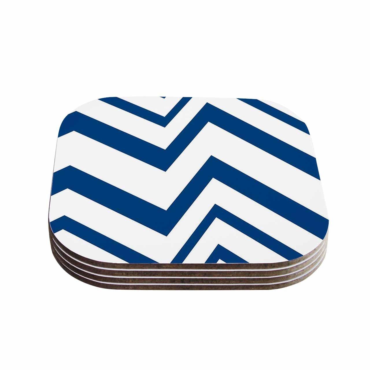 Set of 4 Multicolor KESS InHouse NL DesignsZigZag Navy Blue White Coasters 4 x 4