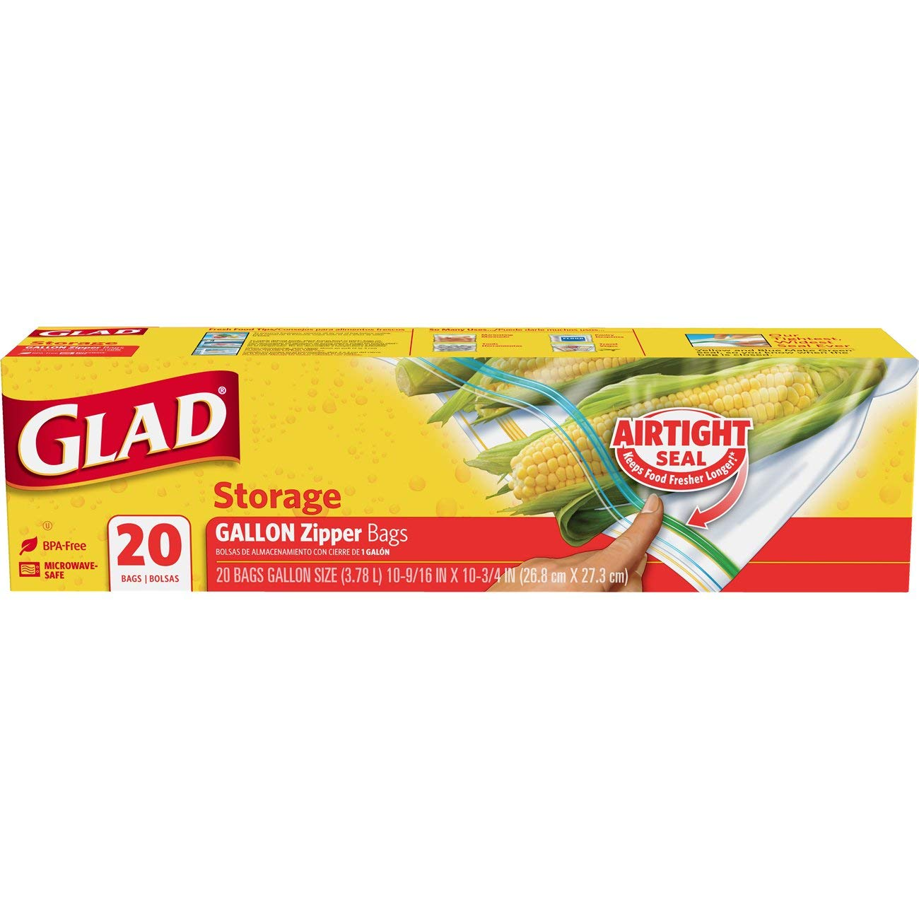 Glad Zipper Food Storage Freezer Bags - Gallon - 20 Count
