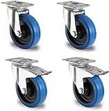 Homdox Heavy Duty Swivel Caster PCV Wheels Lockable Ball Bearing Degree Top Plate Pack of 4 (4inch, Blue)