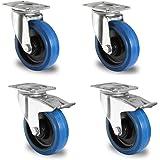 Roulettes en caoutchouc/Roulettes pivotantes avec frein ,Caster Wheels/Lot de 4