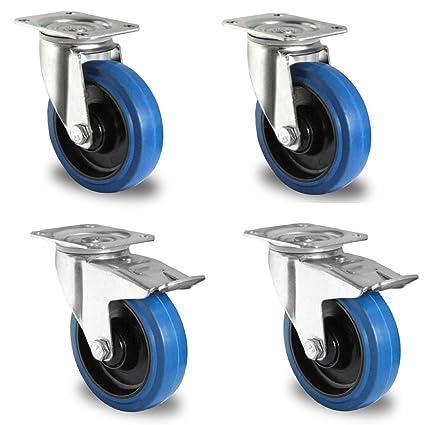 Meykey Lote de 4 Ruedas Giratorias 100 mm, Ruedas Muebles 600kg, Azul