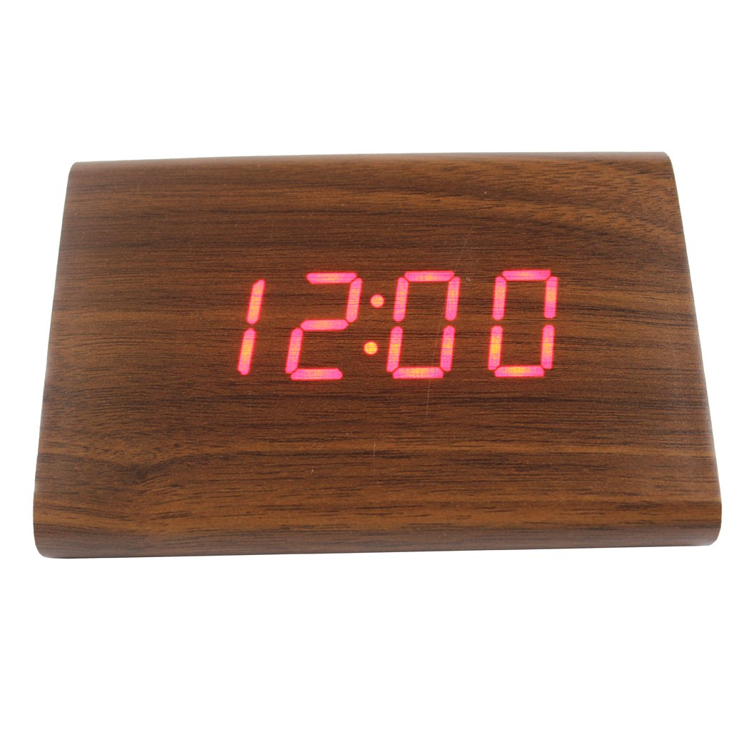 Bamboo + Red Light Sound Control Dianoo Wooden Series Modern Mini Triangle Wood Alarm Clock Time Temperature Date