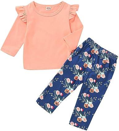Floral Long Pants Clothes Set 2PCS Toddler Kids Baby Girls Outfit T-shirt Tops