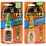 Gorilla Super Glue Gel 15g and Super Glue Brush & Nozzle 10g - Combo