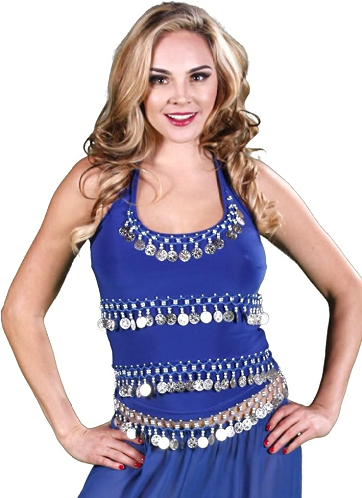 Miss Belly Dance Danza del ventre lycra elastico halter top per donna