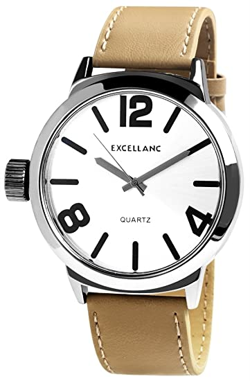 XXL Hombres Reloj De Pulsera Plateado Beige Analógica Metal Cuero Cuarzo