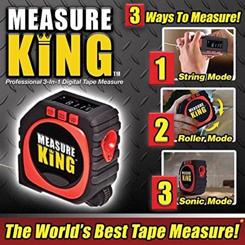 Measure King 3-in-1 Digital Tape Measure String Mode, Sonic Mode & Roller Mode