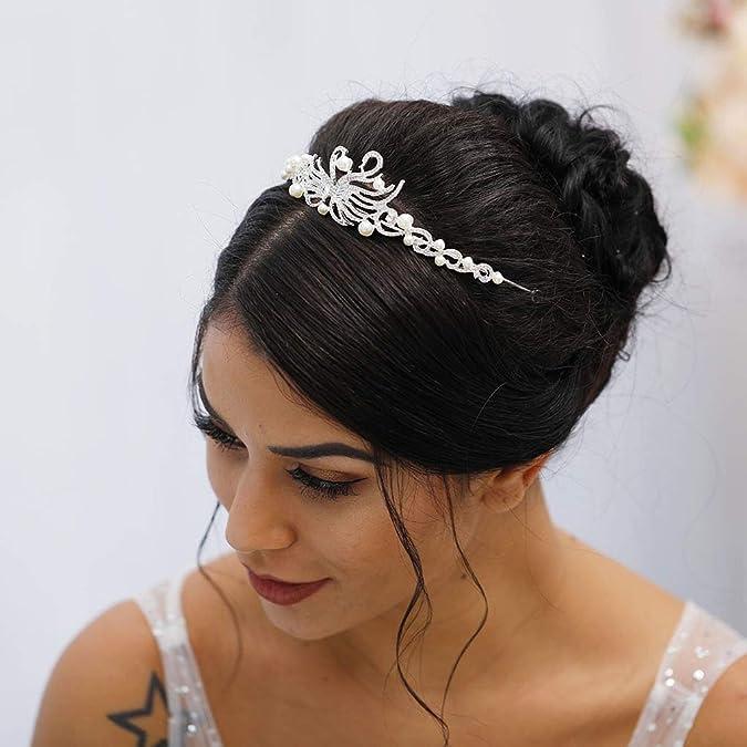 Princess Swan    Bridal Crystal Pearls Tiara Crown Wedding Headband Hair Pageant