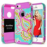 iPhone 5S Case,iPhone 5s Hybrid Case,AnnBay(TM) for iPhone 5S 2in1 High Impact Hybrid Dual Layer Case Heavy Duty Case Armor Cover Case with Totem Pattern (Purple)