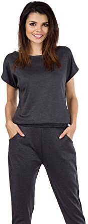 7a6473288272c9 Talya Damen Casual Elegant Shorte Ärmel Lange Beine Jumpsuit Overall S  Grau  Amazon.de  Bekleidung