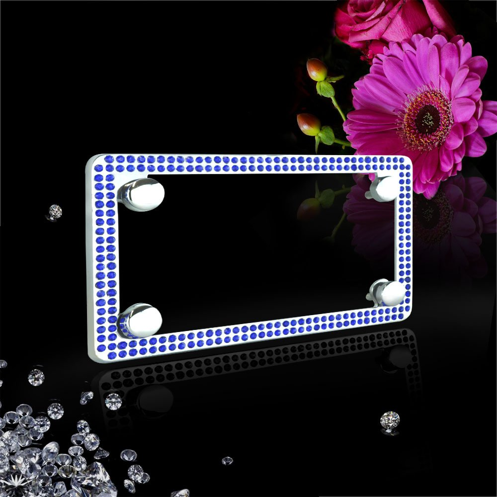 JR2 Premium Shinning Crystal Motorcycle License Plate Frame with Cap WHITE