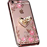 iPhone 7 Plus Floral Crystal TPU Case-Inspirationc Soft Slim Bling Plating Rubber Cover for iPhone 7 Plus 5.5 Inch with Rhine
