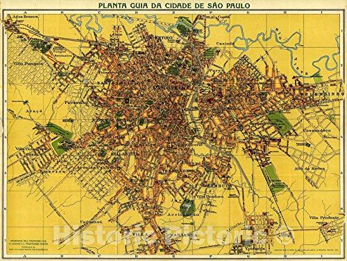 Historic 1913 Map   Planta guia da Cidade de São Paulo. 59in x 44in