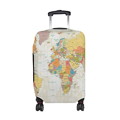 Amazon u life vintage beige world map luggage suitcase cover u life vintage beige world map luggage suitcase cover protector for travel gumiabroncs Image collections