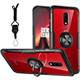 Dishibei Oneplus 7 Case 6.41 inch,360 Rotating Ring Holder Kickstand with Magnetic Car Mount Rubber Bumper Clear Carbon…