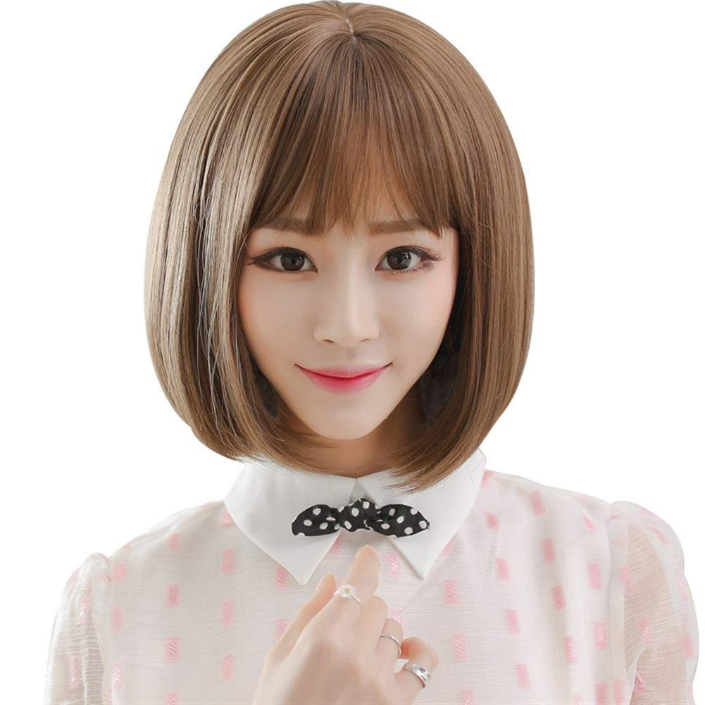 Shentianwei Hair Short Hair Japanese Air Bangs Bobo Head Short Straight Hair Realistic Headgear Color Vanilla Honey 35cm Amazon In Health Personal Care