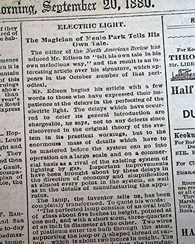 ELECTRIC LIGHT BULB Thomas Edison Menlo Park NJ Explanation 1880 Old Newspaper ST. LOUIS GLOBE-DEMOCRAT, Sept. 20, - Park Edison Nj