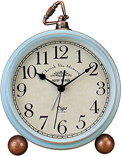 JUSTUP Table Clock, Vintage Non-Ticking Table Desk Alarm Clock Battery Operated with Quartz Movement HD Glass for Bedroom Living Room Kids Arabic