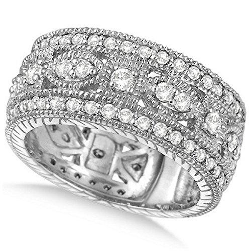 Byzantine White Gold Ring (Women's Vintage Style Byzantine Wide Band Diamond Ring 18k White Gold (1.37ct))