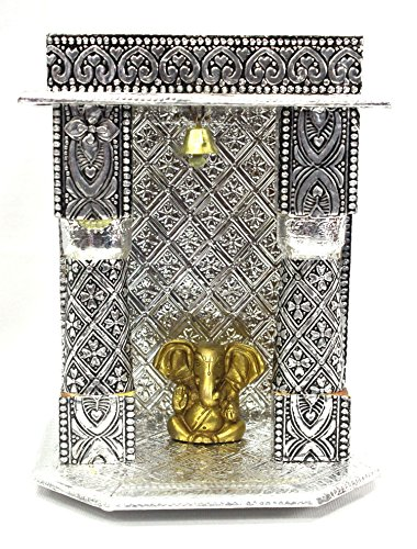 AMBA HANDICRAFT wooden oxidized hindu temple for home and office. Shrine altar mandir pooja prayer faith Diwali festival / wedding decoration / indian temple 001 by Amba Handicraft