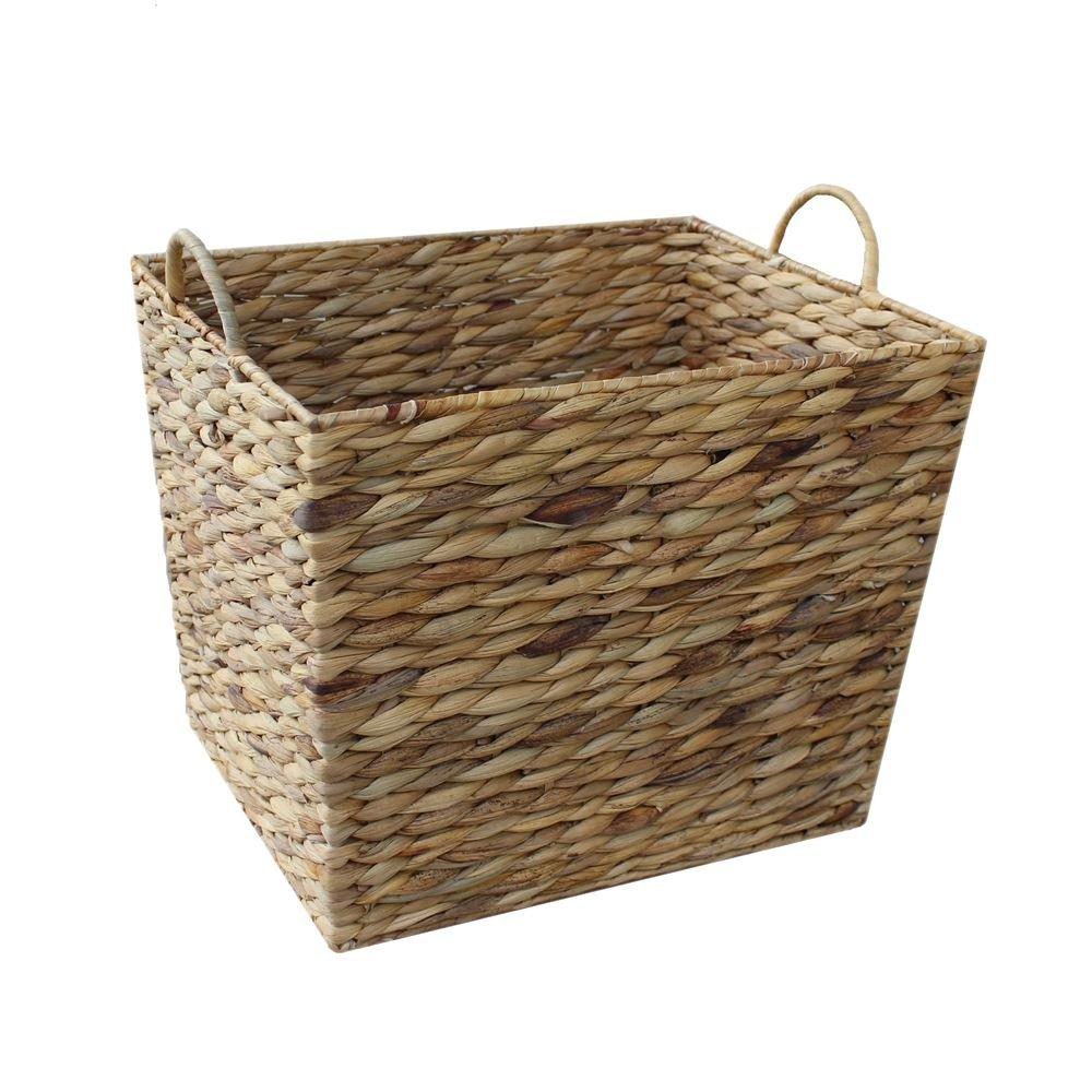 Large Water Hyacinth Rectangular Tapered Storage Basket by Red Hamper
