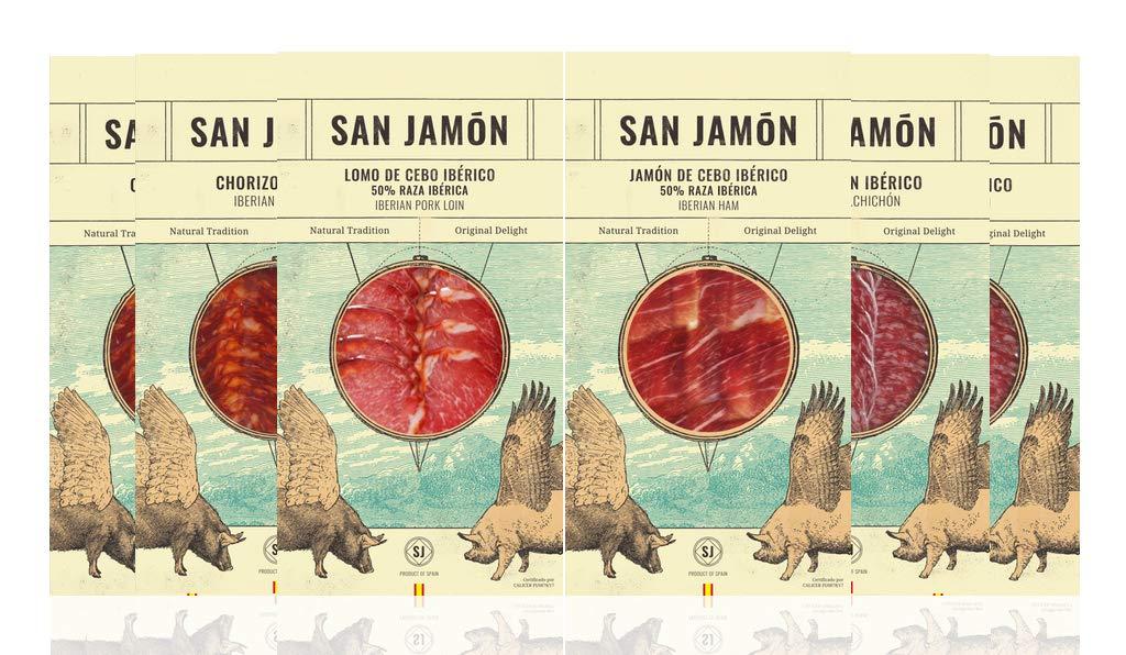 San Jamon Lote Chorizo, Salchichón, Lomo y Jamón Ibéricos ...