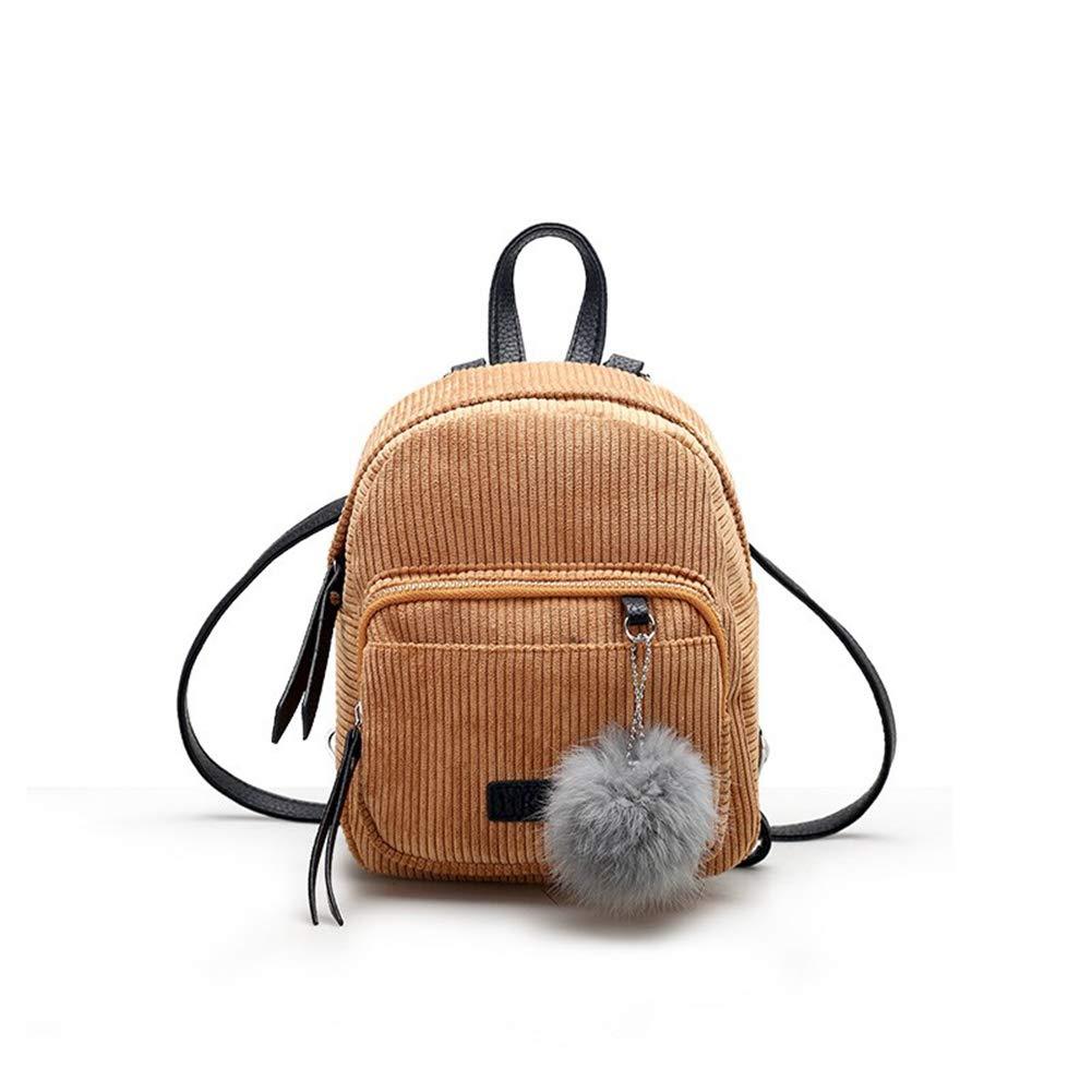 FTVOGUE Corduroy Backpack Handbags Women Pompom Pendant Travel Shopping School Bag