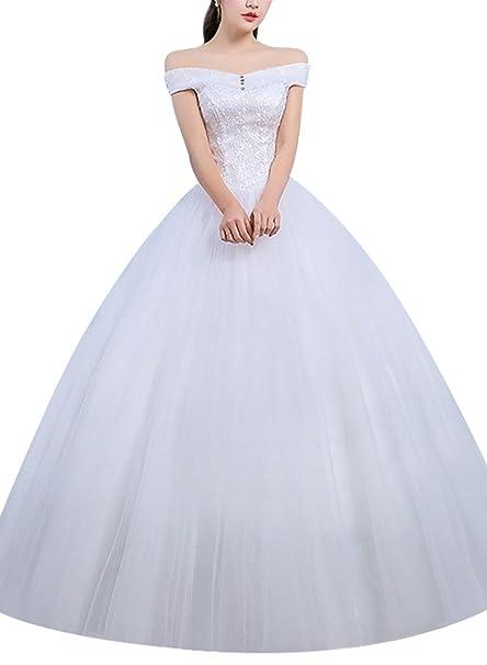 Vestido de Novia Nupcial Maxi sin Espalda Ajustable del Hombro del Vendaje Ajustable Blanco S