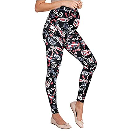 fa3906f6a20b7 Amazon.com: Maternity Leggings High Waist Pants for Woman Seamless ...