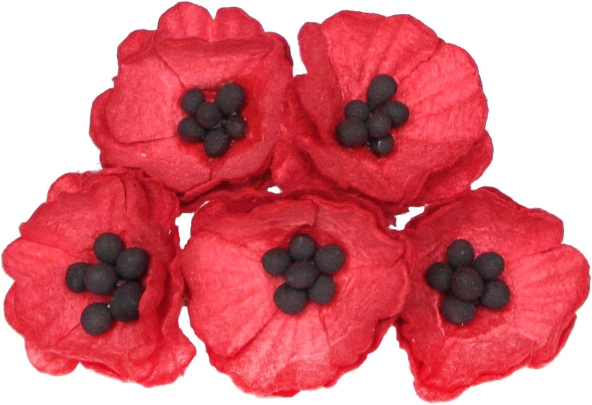 Amazon Com 50 Paper Poppy Flowers For Scrapbooking Veteran S Day