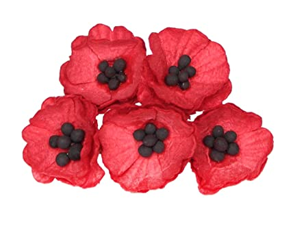 Amazon 50 Paper Poppy Flowers For Scrapbooking Veterans Day
