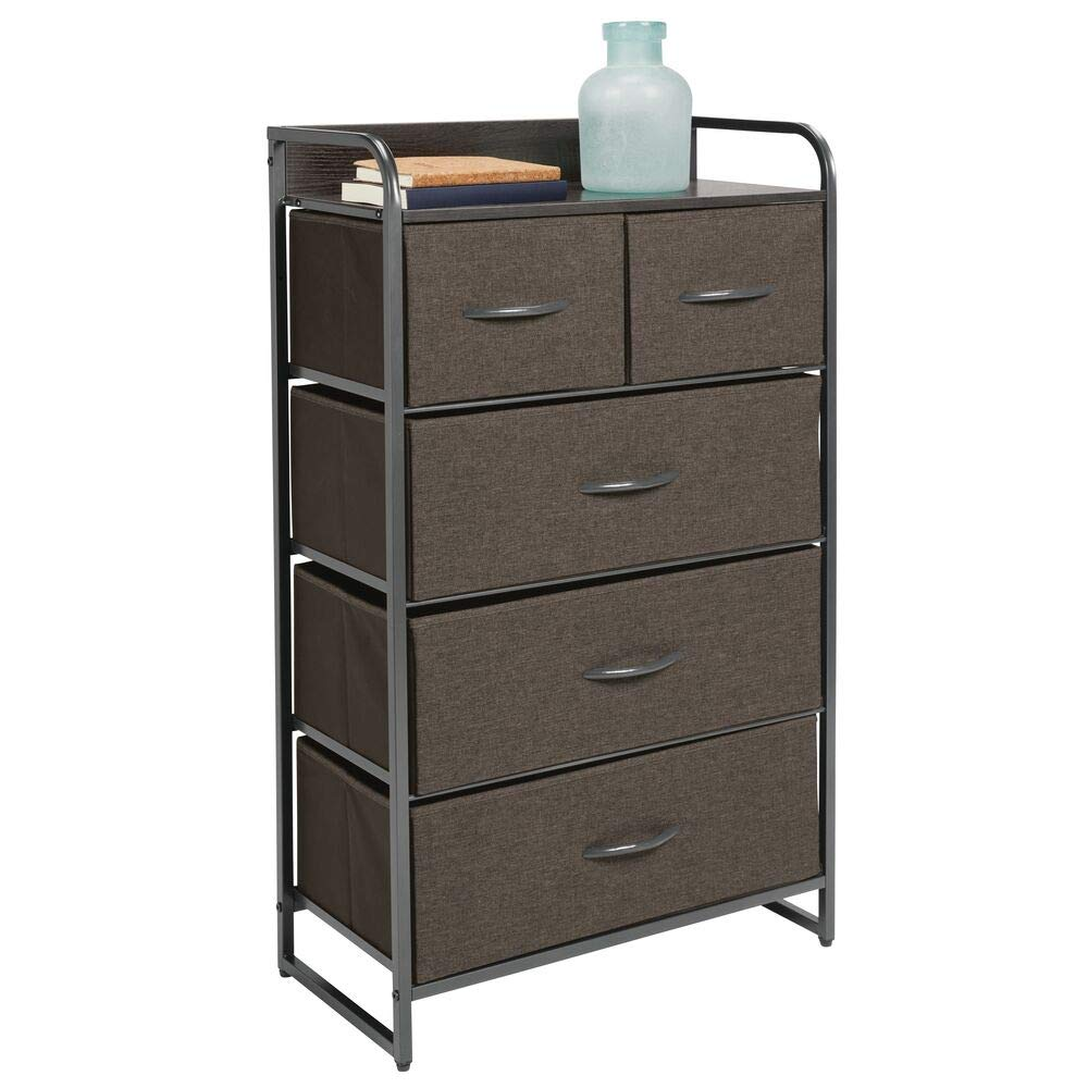 mDesign Tall Dresser Storage Chest, Sturdy Steel Frame, Wood Top & Handles, Easy Pull Fabric Bins - Organizer Unit for Bedroom, Hallway, Closet, Textured Print, 5 Drawers - Charcoal Gray/Graphite Gray
