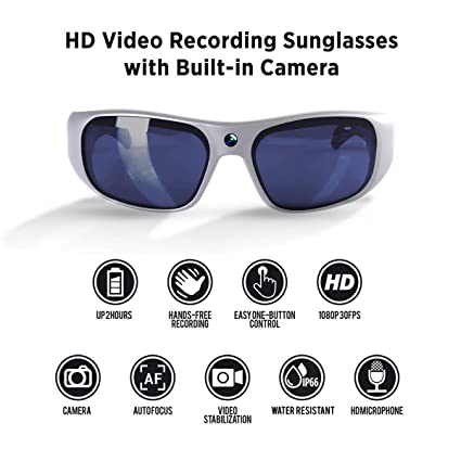 8d3921f334 Amazon.com  GoVision Apollo 1080p HD Camera Glasses Water Resistant ...