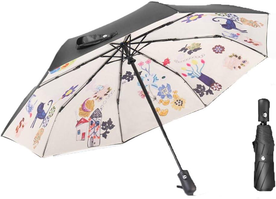 PENGXIN Automatic Umbrella Double Sunscreen Folding rain and Two Umbrellas with UV Sunshade
