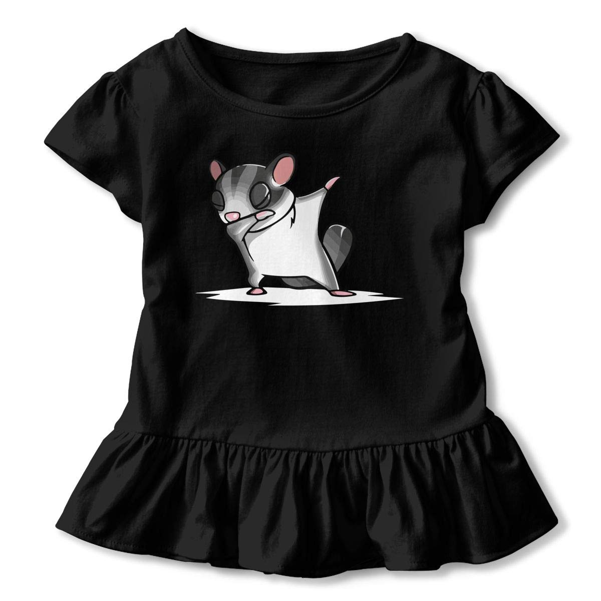 Little Girls Dabbing Sugar Glider Funny Short Sleeve Cotton T Shirts Basic Tops Tee Clothes