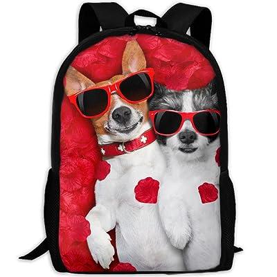 ZQBAAD Valentine's Day Dog Luxury Print Men And Women's Travel Knapsack