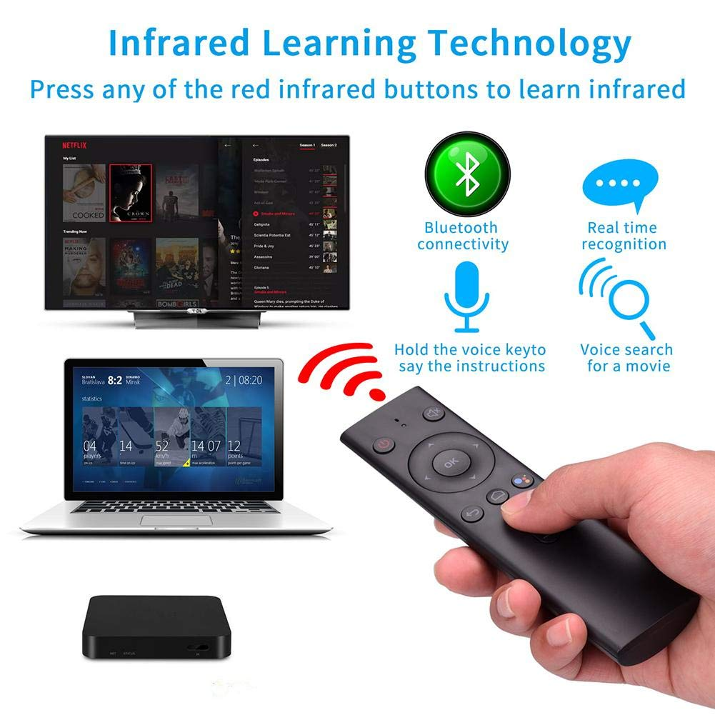 Q8 Bluetooth Voice y AI Voice Flying Squirrel Mouse TV Control remoto inal/ámbrico Top Box Control remoto Air Mouse Remote TV