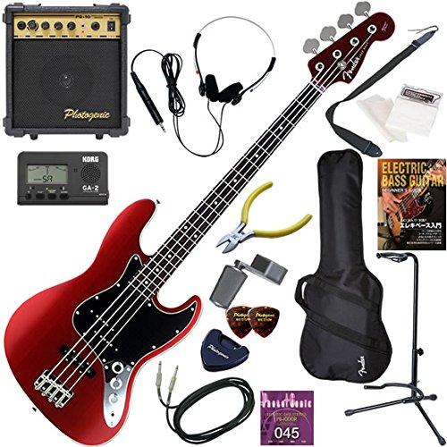 FENDER エレキベース 初心者 入門 日本製 ラウンドトップ、バインディング仕様のクールなルックスのジャズベース 10wアンプが入ったスタンダード15点セット Aerodyne Jazz Bass/OCR(オールドキャンディアップルレッド)  OCR(オールドキャンディアップルレッド) B079FJ27CB
