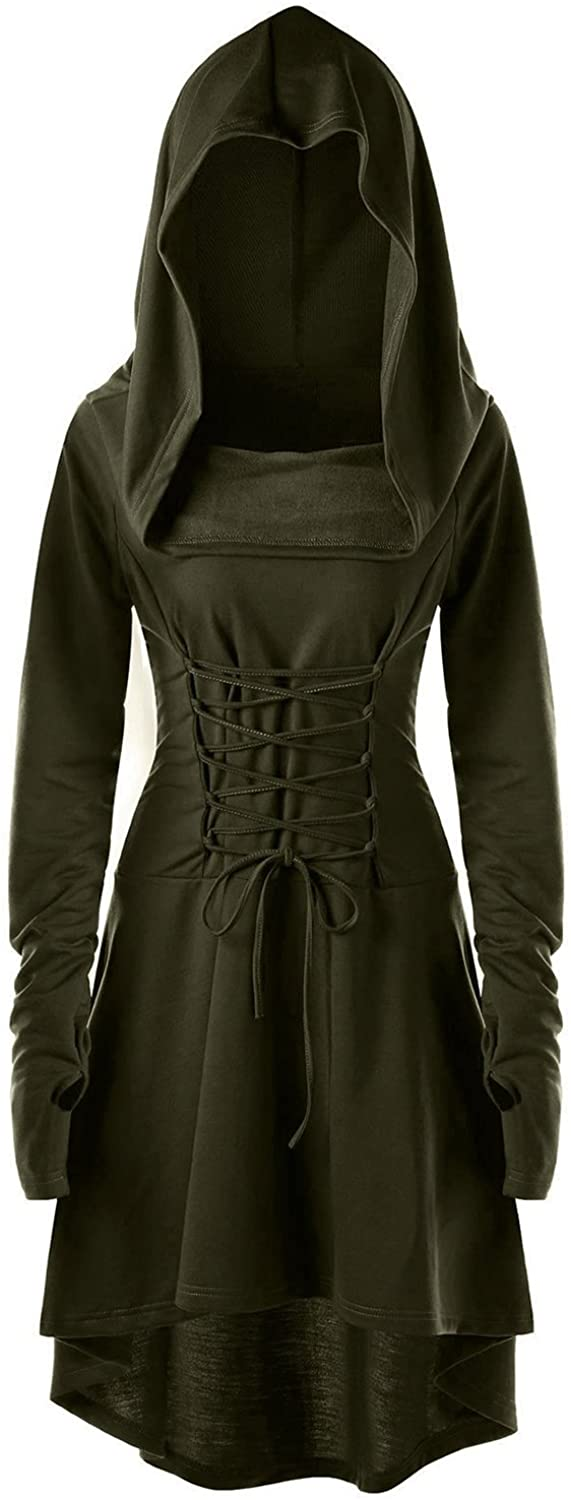 Womens Renaissance Costumes Hooded Robe Lace Up Vintage Pullover High Low Long Hoodie Dress